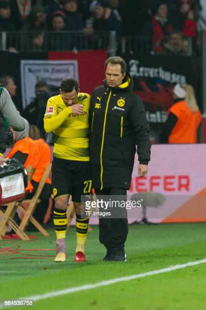 Gonzalo Castro of Dortmund injured during the Bundesliga match between Bayer 04 Leverkusen and Borussia Dortmund at BayArena on December 2 2017 in...