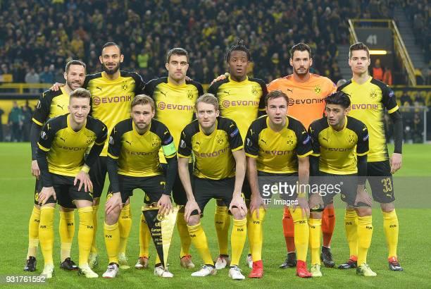 Gonzalo Castro of Dortmund Oemer Toprak of Dortmund Sokratis Papastathopoulos of Dortmund Michy Batshuayi of Dortmund Goalkeeper Roman Buerki of...