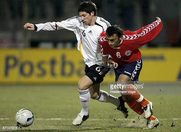 Gonzalo Castro of Germany tussels for the ball with Romik Khachatryan of Armenia during the Under 21 friendly match between Germany and Armenia at...