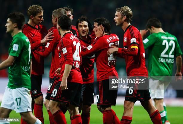 Gonzalo Castro of Leverkusen celebrates after scoring his team's first goal during the Bundesliga match between Werder Bremen and Bayer 04 Leverkusen...