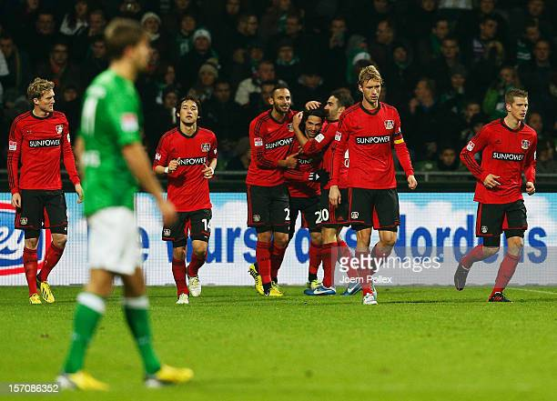 Gonzalo Castro of Leverkusen celebrates after scoring his team's second goal during the Bundesliga match between Werder Bremen and Bayer 04...