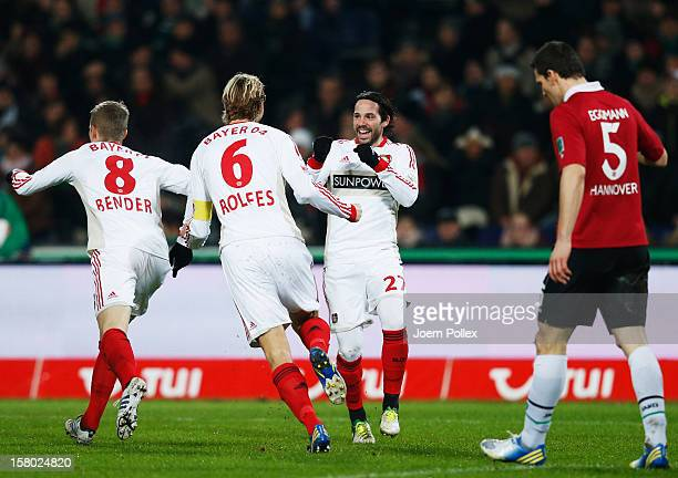 Gonzalo Castro of Leverkusen celebrates with his team mates after scoring his team's first goal during the Bundesliga match between Hannover 96 and...