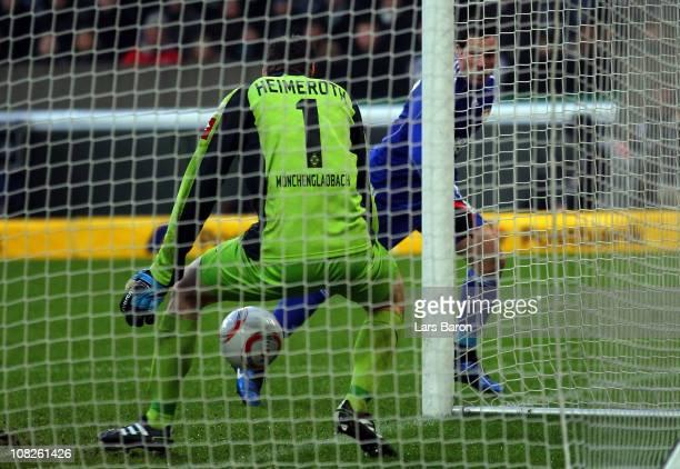 Gonzalo Castro of Leverkusen scores his teams second goal past goalkeeper Christofer Heimeroth of Moenchengladbach during the Bundesliga match...