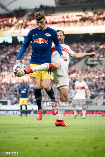 Gonzalo Castro of Stuttgart challenges Timo Wernerof Leipzig for the ball during the Bundesliga match between VfB Stuttgart and RB Leipzig at...