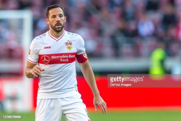 Gonzalo Castro of VfB Stuttgart Looks on during the Bundesliga match between VfB Stuttgart and Bayer 04 Leverkusen at Mercedes-Benz Arena on October...