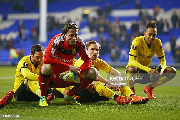 Gonzalo Castro Roman Weidenfeller Marcel Schmelzer and PierreEmerick Aubameyang of Borussia Dortmund look on in victory after the UEFA Europa League...