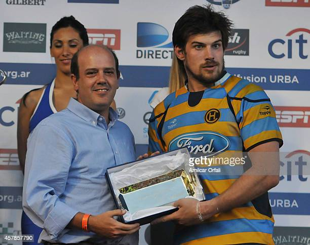 Gonzalo Delli of Hindu Club is honored as best player of the match after a final match between CUBA and Hindu Club as part of URBA Top 14 at CASI...