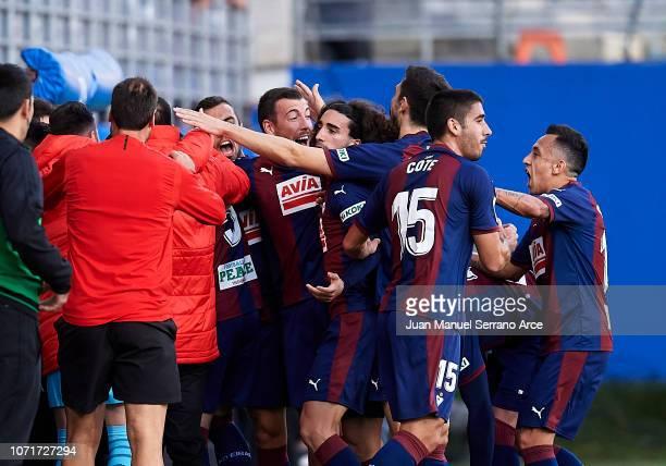 Gonzalo Escalante of SD Eibar celebrates after scoring goal during the La Liga match between SD Eibar and Real Madrid CF at Ipurua Municipal Stadium...