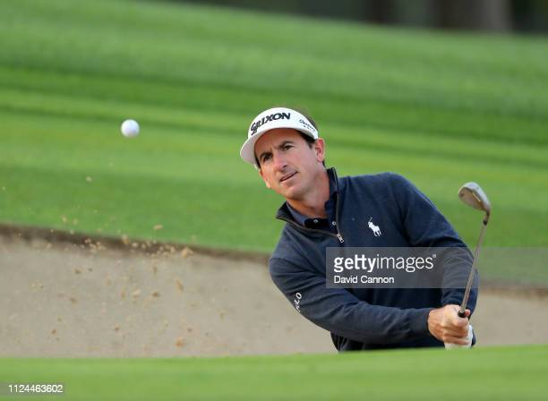 Gonzalo FdezCastano of Spain plays his third shot on the par 4 second hole during the first round of the Omega Dubai Desert Classic on the Majlis...