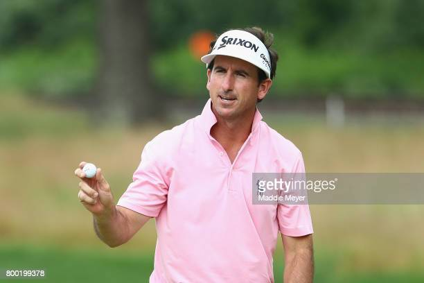 Gonzalo FdezCastano of Spain reacts after putting on the 13th green during the second round of the Travelers Championship at TPC River Highlands on...