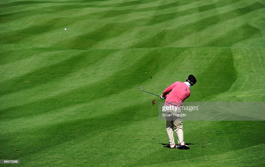 Gonzalo Fernandez - Castano of Spain plays his approach shot on the 12th hole during the third round of the Open Cala Millor Mallorca at Pula golf club on May 15, 2010 in Mallorca, Spain.