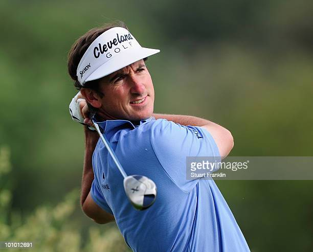 Gonzalo Fernandez Castano of Spain plays his tee shot on the 13th hole during the first round of the Madrid Masters at Real Sociedad Hipica Espanola...