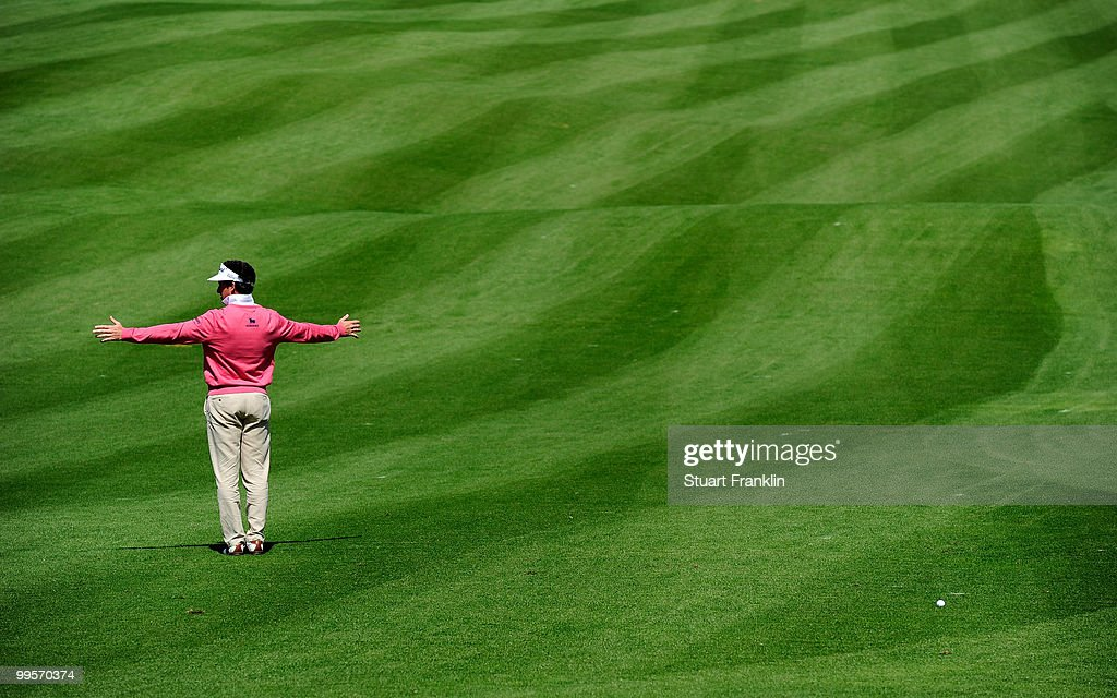Gonzalo Fernandez - Castano of Spain ponders his approach shot on the 12th hole during the third round of the Open Cala Millor Mallorca at Pula golf club on May 15, 2010 in Mallorca, Spain.