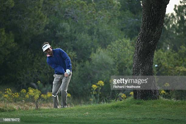 Gonzalo Fernandez Castano of Spainplays into the 10th green during the second round of the Open de Espana at Parador de El Saler on April 19 2013 in...
