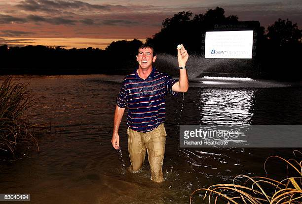 Gonzalo FernandezCastano of Spain celebrates in the lake around 18 green after beating Lee Westwood in a playoff during the final round of The Quinn...