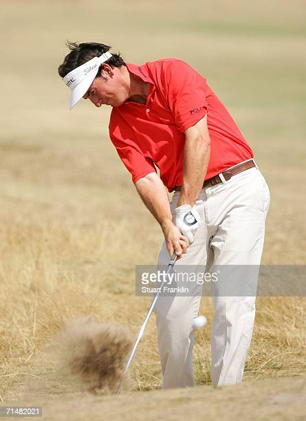 Gonzalo FernandezCastano of Spain hits a shot on the 8th hole during final practice for The Open Championship at Royal Liverpool Golf Club on July 19...