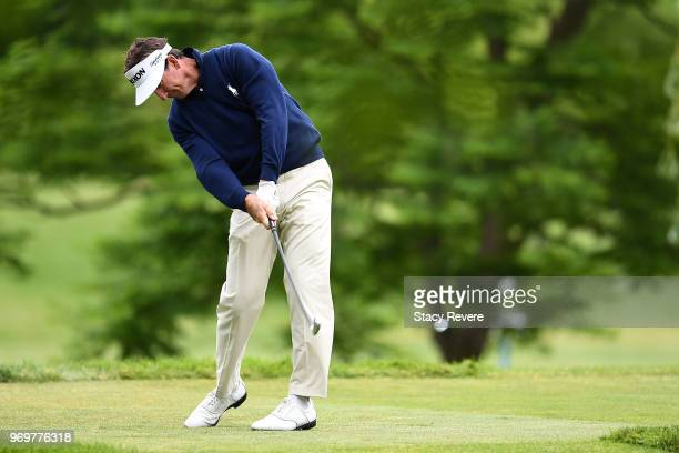 Gonzalo FernandezCastano of Spain hits his tee shot on the third hole during the second round of the RustOleum Championship at the Ivanhoe Club on...