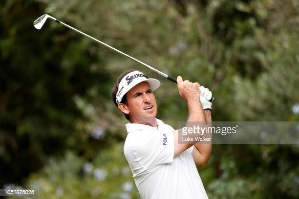 Gonzalo FernandezCastano of Spain hits their tee shot on the third hole during the third round on day four of Andalucia Valderrama Masters at Real...