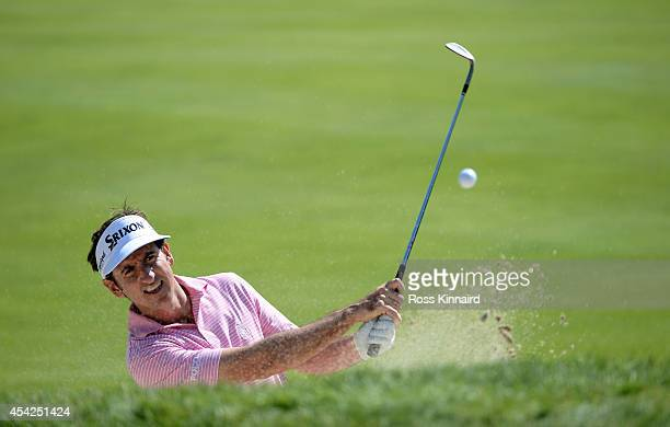 Gonzalo FernandezCastano of Spain in action during a practice round prior to the Deutsche Bank Championship at TPC Boston on August 27 2014 in Norton...