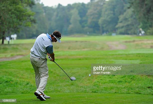 Gonzalo FernandezCastano of Spain plays his tee shot on the fourth hole during the first round of The KLM Open Golf at The Hillversumsche Golf Club...