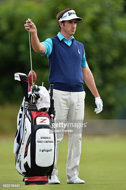 Gonzalo FernandezCastano of Spain pulls a club during a practice round prior to the start of The 143rd Open Championship at Royal Liverpool on July...