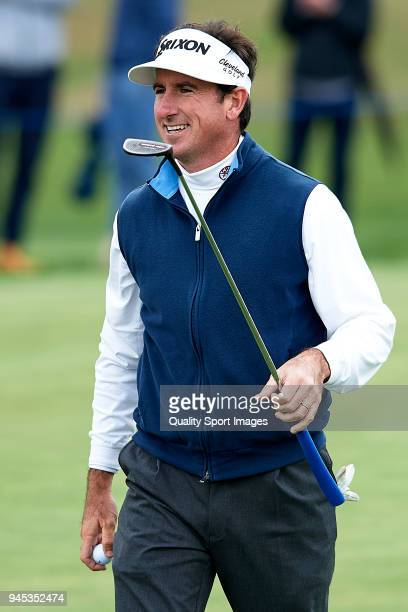 Gonzalo FernandezCastano of Spain reacts during day one of Open de Espana at Centro Nacional de Golf on April 12 2018 in Madrid Spain
