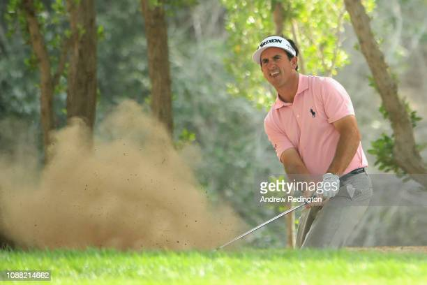 Gonzalo FernandezCastano of Spain takes his second shot on hole two from a bunker during Day Two of the Omega Dubai Desert Classic at Emirates Golf...