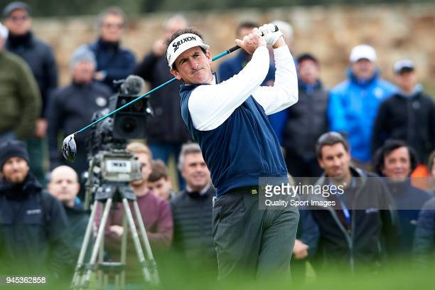 Gonzalo FernandezCastano of Spain tees off during day one of Open de Espana at Centro Nacional de Golf on April 12 2018 in Madrid Spain