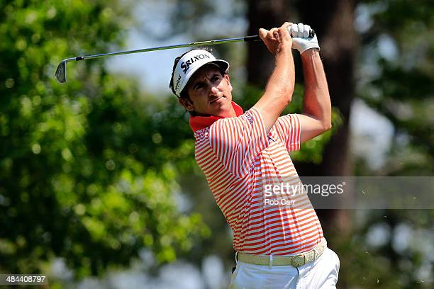 Gonzalo FernandezCastano of Spain watches his tee shot on the fourth hole during the third round of the 2014 Masters Tournament at Augusta National...