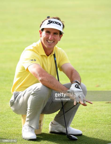 Gonzalo FernándezCastaño of Spain on the practice range during the proam event prior to the Omega Dubai Desert Classic at Emirates Golf Club on...