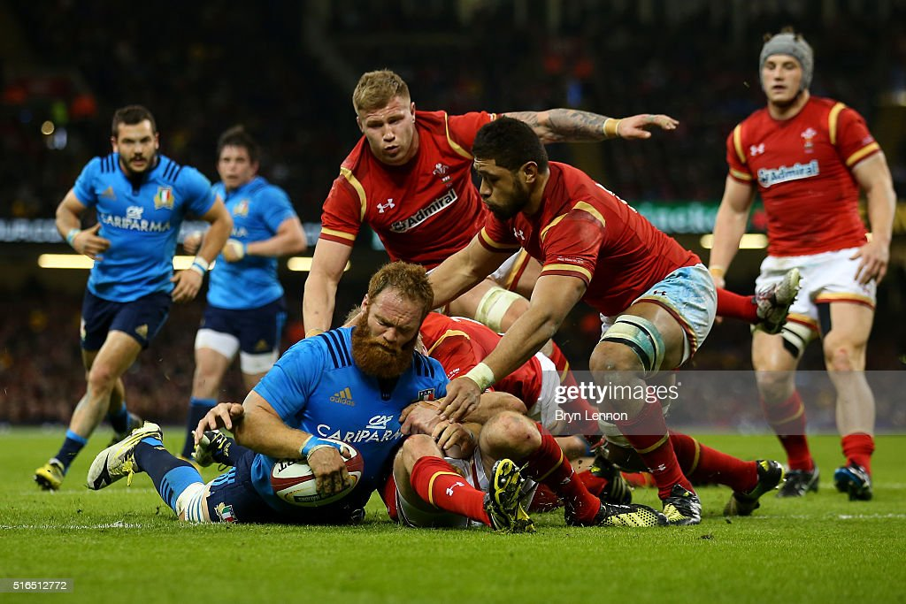 Gonzalo Garcia of Italy crashes over to score his team's second try during the RBS Six Nations match between Wales and Italy at the Principality Stadium on March 19, 2016 in Cardiff, Wales.
