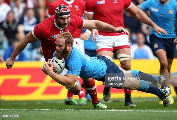 Gonzalo Garcia of Italy goes over for a try during the 2015 Rugby World Cup Pool D match between Italy and Canada at Elland Road on September 26 2015...