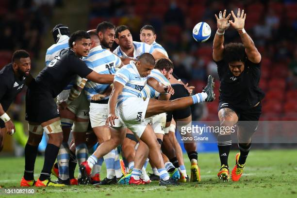 Gonzalo Garcia of the Pumas kicks the ball during The Rugby Championship match between the Argentina Pumas and the New Zealand All Blacks at Suncorp...