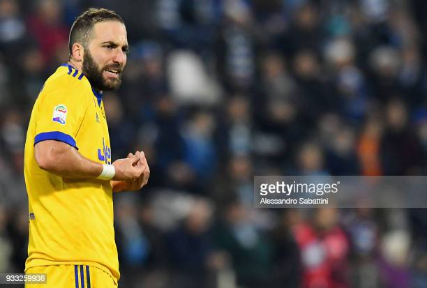 Gonzalo Gerardo Higuain of Juventus gestures during the serie A match between Spal and Juventus at Stadio Paolo Mazza on March 17 2018 in Ferrara...