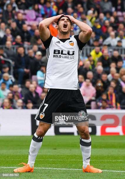 Gonzalo Guedes of Valencia CF reacts after missing a chance to score during the La Liga match between Barcelona and Valencia at Camp Nou on April 14...