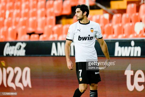 Gonzalo Guedes of Valencia during the Spanish La Liga football match between Valencia and Atletico de Madrid at Mestalla Stadium Final score Valencia...
