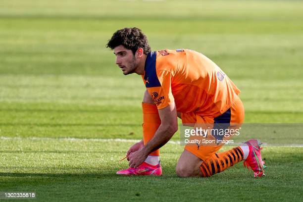 Gonzalo Guedes of Valencia in action during the La Liga Santander match between Real Madrid and Valencia CF at Estadio Alfredo Di Stafano on February...