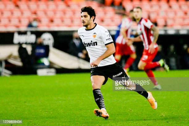 Gonzalo Guedes of Valencia in action during the Spanish La Liga football match between Valencia and Atletico de Madrid at Mestalla Stadium Final...