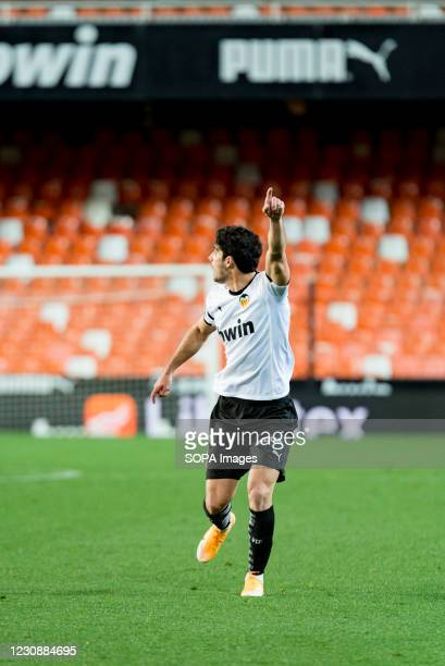 Gonzalo Guedes of Valencia seen in action during the Spanish La Liga football match between Valencia and Elche at Mestalla Stadium. .