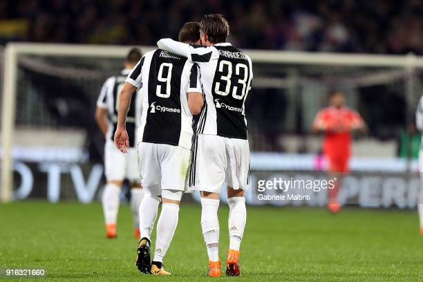 Gonzalo Higuain and Federico Bernardeschi of Juventus celebrates after scoring a goal during the serie A match between ACF Fiorentina and Juventus at...