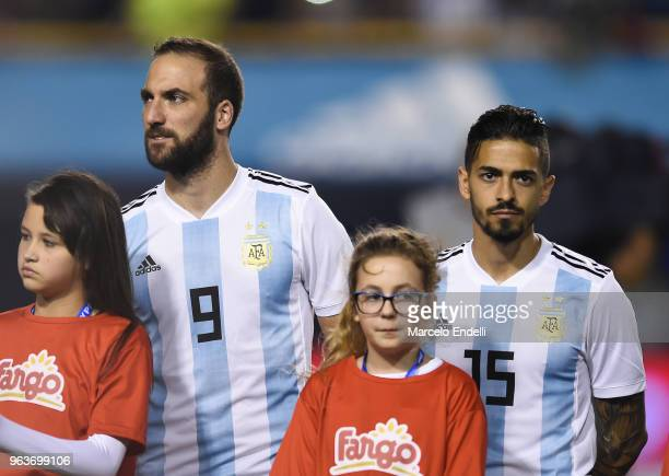 Gonzalo Higuain and Manuel Lanzini of Argentina look on before an international friendly match between Argentina and Haiti at Alberto J Armando...