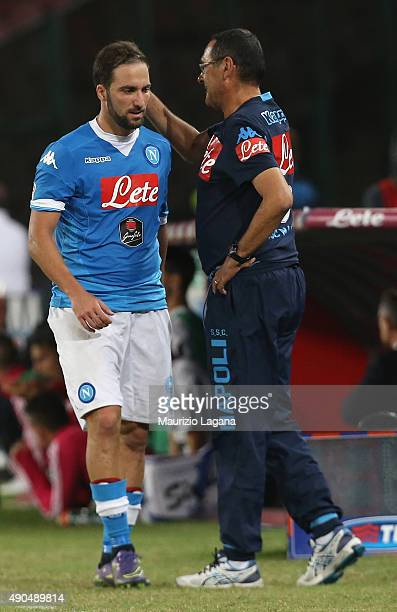 Gonzalo Higuain and Maurizio Sarri of Napoli during the Serie A match between SSC Napoli and Juventus FC at Stadio San Paolo on September 26 2015 in...