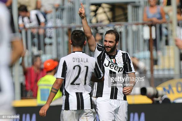 Gonzalo Higuain and Paulo Dybala during the Serie A match between Empoli FC and Juventus FC at Stadio Carlo Castellani on October 2 2016 in Empoli...