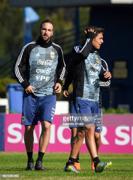 Gonzalo Higuain and Paulo Dybala of Argentina during a training sessionn as part of the preparation to FIFA Russia 2018 on May 24 2018 in Buenos...
