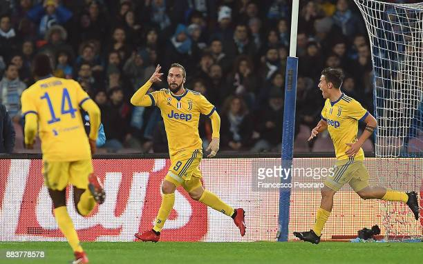 Gonzalo Higuain and Paulo Dybala of Juventus celebrate the 01 goal scored by Gonzalo Higuain during the Serie A match between SSC Napoli and Juventus...