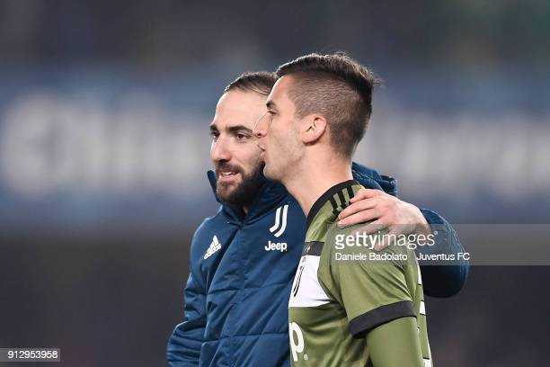 Gonzalo Higuain and Rodrigo Bentancur during the serie A match between AC Chievo Verona and Juventus at Stadio Marc'Antonio Bentegodi on January 27...