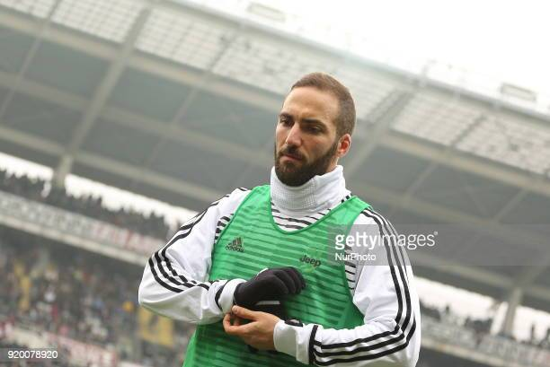 Gonzalo Higuain before the Serie A football match between Torino FC and Juventus FC at Olympic Grande Torino Stadium on 18 February 2018 in Turin...