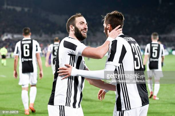 Gonzalo Higuain celebrates 02 goal with Rodrigo Bentancur during the serie A match between ACF Fiorentina and Juventus at Stadio Artemio Franchi on...