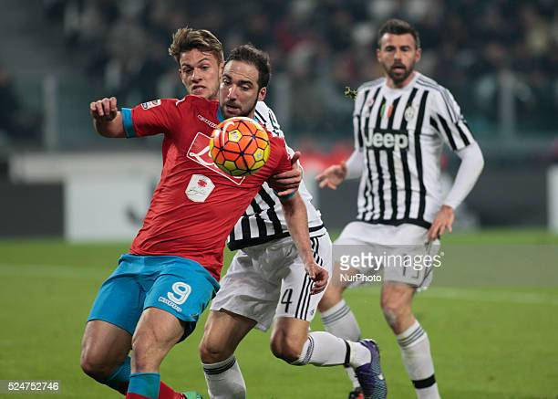 Gonzalo Higuain Daniele Rugani and Andrea Barzagli during the serie A match between Juventus FC vs SSC Napoli at the Juventus Stadium of Turin on...