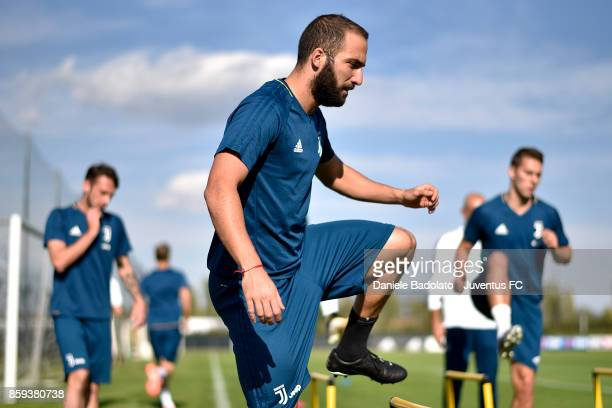 Gonzalo Higuain during a Juventus training session on October 9 2017 in Vinovo Italy
